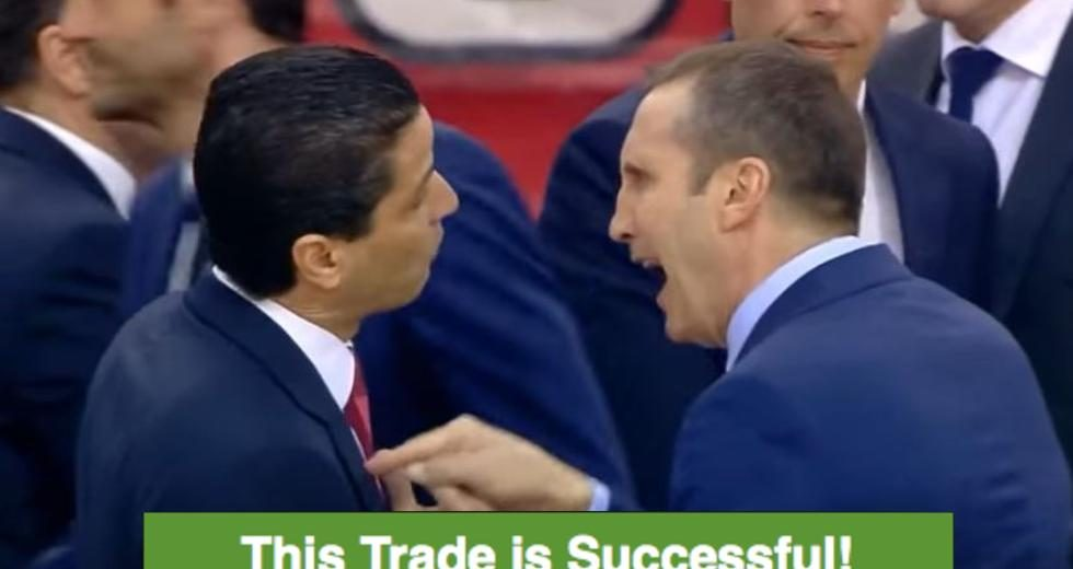 """this trade is successful"""", blatt to sfairopoulos after the game, Esstisch ideennn"""